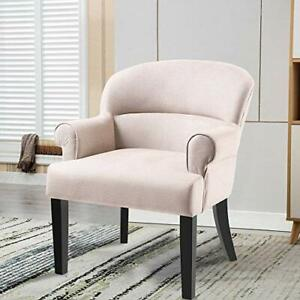 Modern-Accent-Chair-Stylish-Fabric-Armchair-Living-Room-w-Black-Wood-Legs-Beige