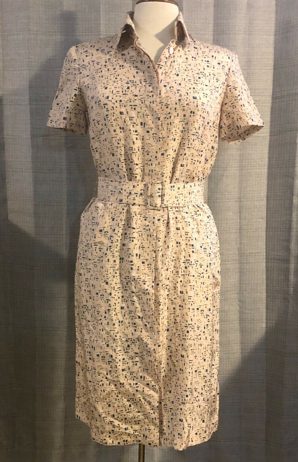 Womens PAOLO PECORA Geometric Print Belted Silk Dress   42   US Size 8