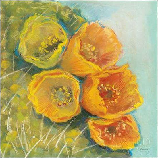 Carol Rowan  Blooming Succulent II Keilrahmen-Bild Leinwand Kaktus Blüte gelb