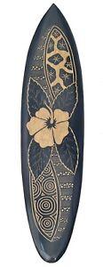 Deko Surfboard 100cm aus Hartholz mit Blumen Motiv Surfbrett Hibiskus