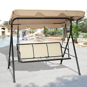 Image Is Loading 3 Person Patio Swing Outdoor Canopy Awning Yard