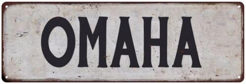 OMAHA Vintage Look Rustic Metal Sign City State 106180041020