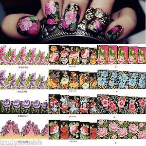 Nail-Art-pegatinas-Agua-Calcomanias-Para-Unas-transferencias-Wraps-Flores-Floral-Porcelana