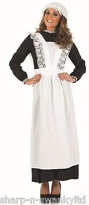 Ladies Long Length Victorian Scullery Maid Fancy Dress Costume Outfit Plus Size