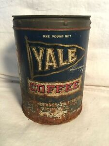 RARE-Vintage-1930s-YALE-Coffee-metal-tin-Can-1lb-St-Louis-MO