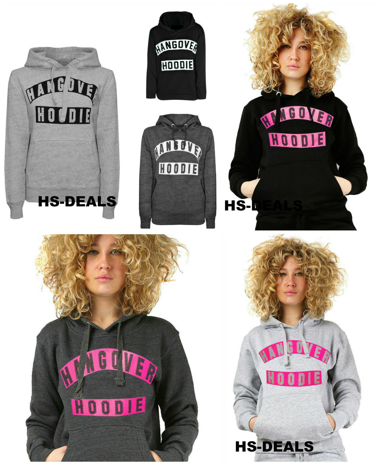 Mesdames femme HANGOVER hoodies dames à manches longues imprimé taille femme Mesdames sweat top 8-14 d442d7