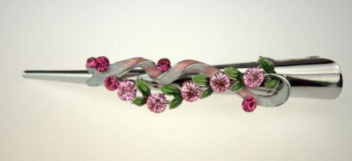 Épingle à Cheveux Bec Barrette Pince à cheveux boucle rose avec strass en cadeau Box