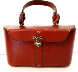 Vintage Etienne Aigner Lunch Box Style Purse Red