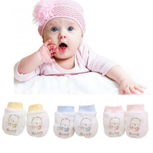 2 Pairs Cute Cartoon Baby Infant Boys Gitls Anti Scratch Mittens Soft Newborn