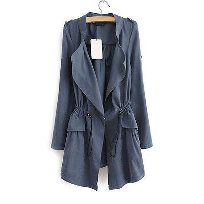 Fashion Womens Drawstring Waist  Windbreaker Jacket Trench Coat Parka Outwear
