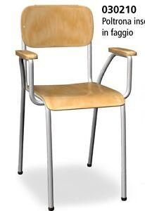 Poltroncine In Legno Con Braccioli.Sedia Poltrona Insegnante Maestra Per Scuola In Legno Di Faggio Con