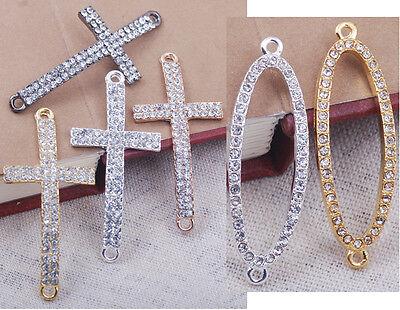 crystal rhinestone pave cross oval wish bracelet connector charm bead sideways