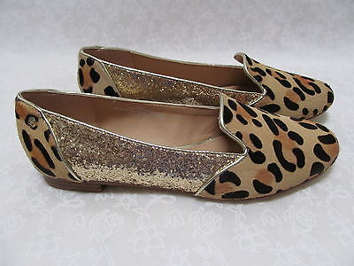 NEW MAN LEOPARD LEATHER HAIRCALF /& GOLD GLITTER SHOES SIZE 9 1//2 W