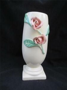 Vintage-CALIENTE-by-Haldeman-Pottery-Pink-Rose-on-Cream-Vase-Ca-USA-576