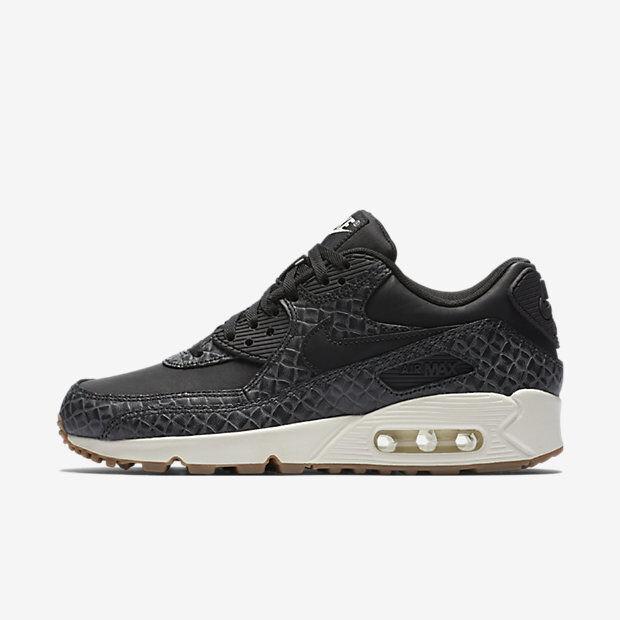 New Nike Women's Air Max 90 Premium Shoes (443817 010) BlackSailGum Med Brown