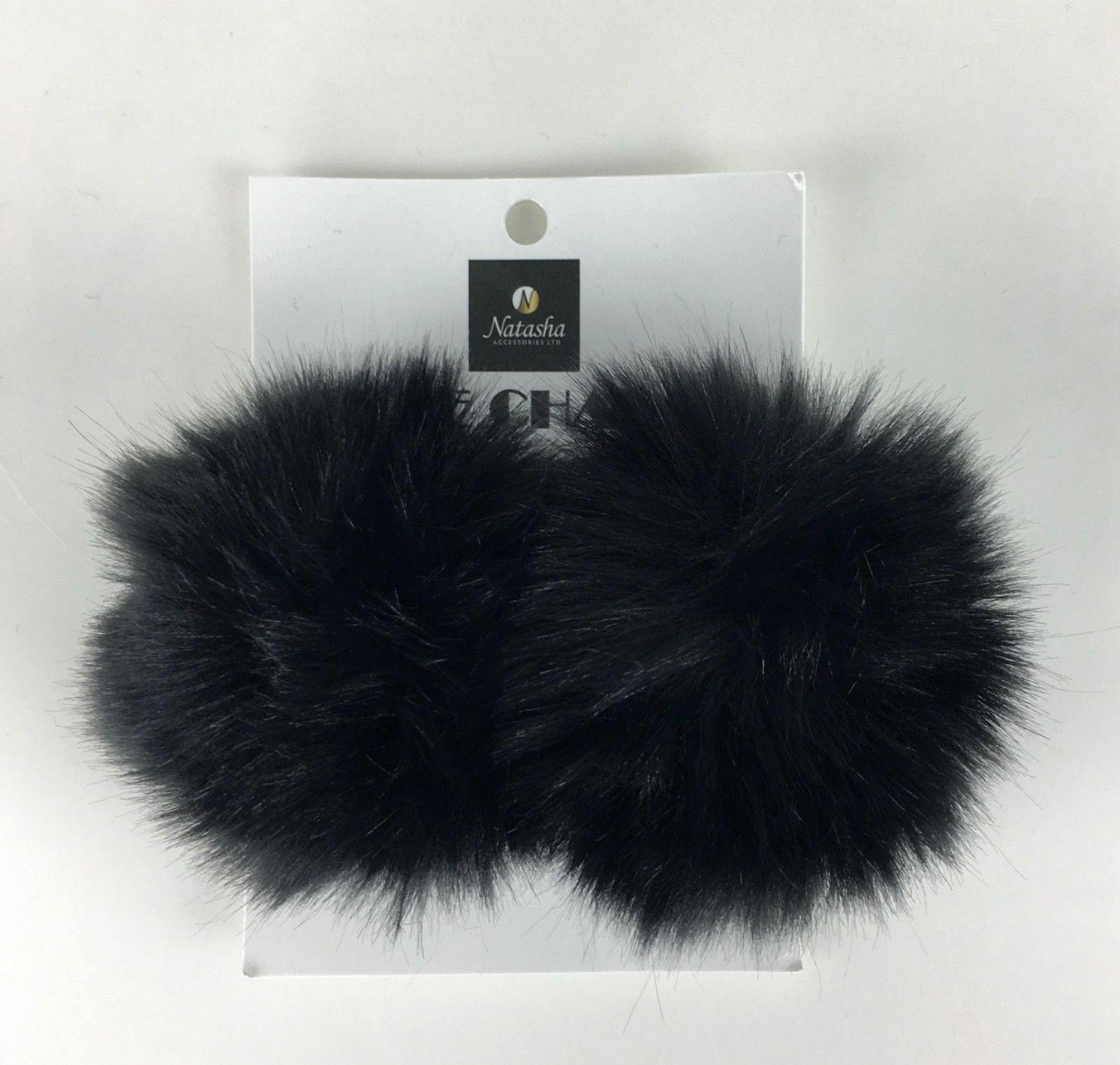 New 2 Black Shoe Accessories Charms Pom Poms Natasha Hair Shoe Accessory