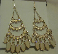 """AVON Marquis De Style Earrings-Iridescent Faux Stones-Leverback Clasps-3 1/4"""" L"""