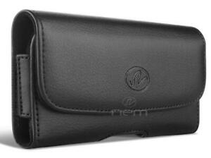 For-Alcatel-Insight-TCL-A1-A501DL-Leather-Case-Belt-Clip-Holster-Pouch-Black