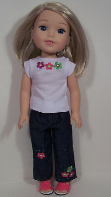 "Debs Flower Jeans Top Belt Doll Clothes For 14/"" Am Girl Wellie Wisher Wishers"
