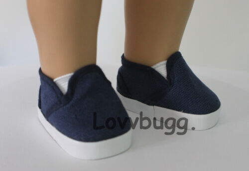 "Truly Navy Blue Deck Sneakers for American Girl or Boy 18/"" Baby 15/"" Doll Shoes"