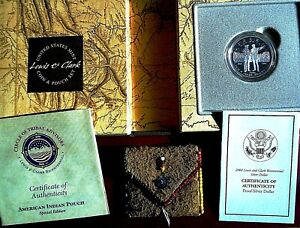 Lewis and Clark Coin and Pouch Set Bicentennial U.S Silver Dollar Proof
