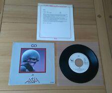 "Asia Go 1985 Euro 7"" Single GEFA6737 Pic Sleeve Promo Sheet Classic Prog Rock"
