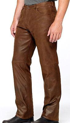 Men's Vintage Cowhide Leather Levi's 501 Style Bikers Pants FREE LEATHER BELT