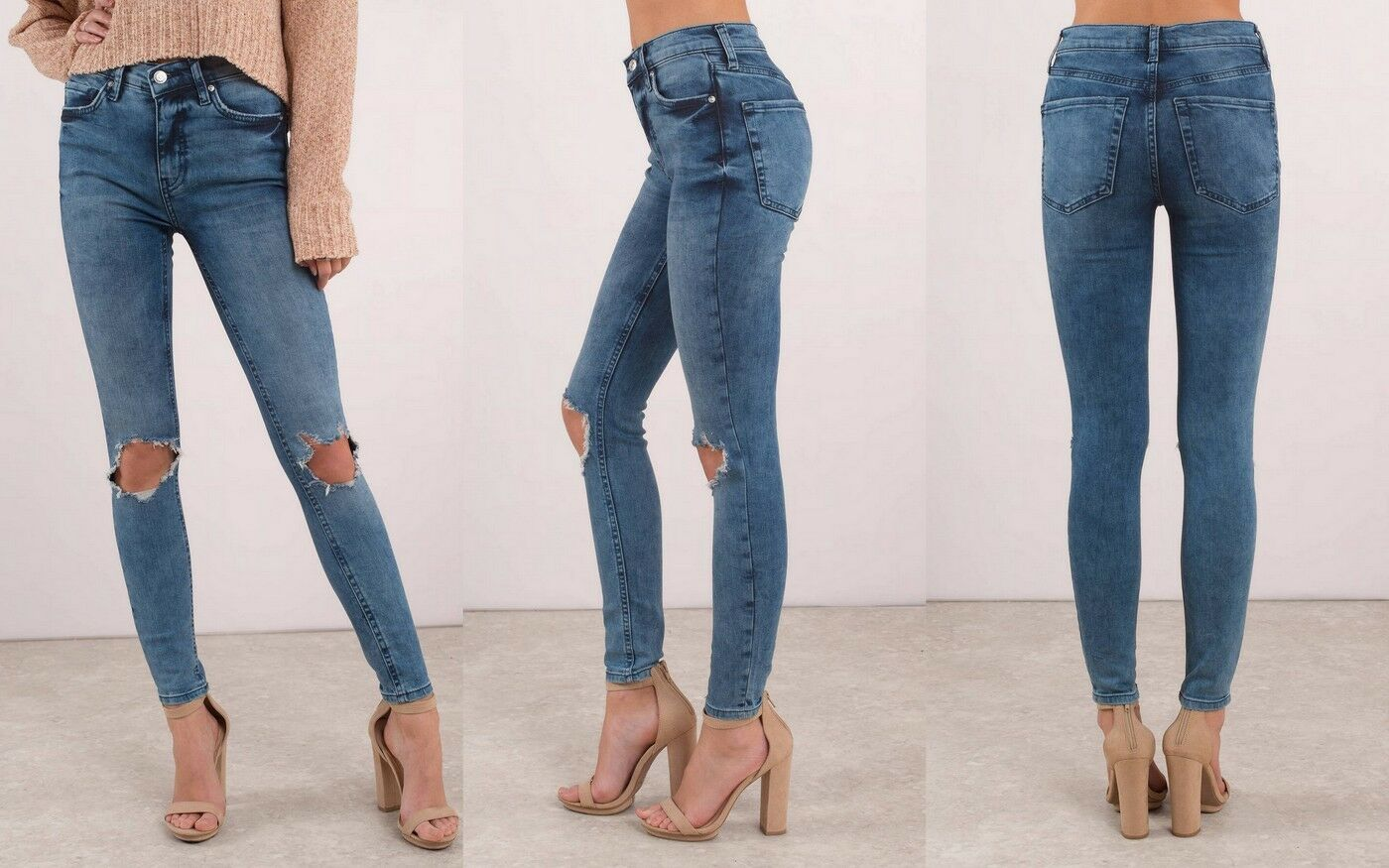 Free People Women's High Rise Busted Knee Skinny Jeans, Turquoise, Size 31R