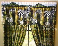 "Safari Jungle ZEBRA KINGDOM Animal Print WINDOW Treatment 16""x84""Curtain VALANCE"