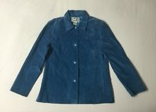 Clio 100% Genuine Suede Leather Turquoise Western Button Jacket Women's size 10