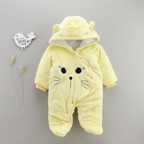 1pc Newborn Baby Girls Boys Cartoon Velvet Hooded Jumpsuit Romper Winter Clothes