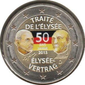 AL20013.3J - ALLEMAGNE - 2 euros commémo. Colorisée Traité de l'Elysée - 2013 J