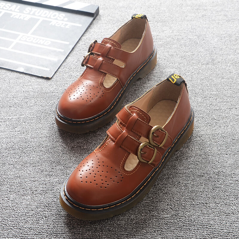 Womens Double Buckles Flat Collegiate shoes Round Toe Retro Preppy Style shoes