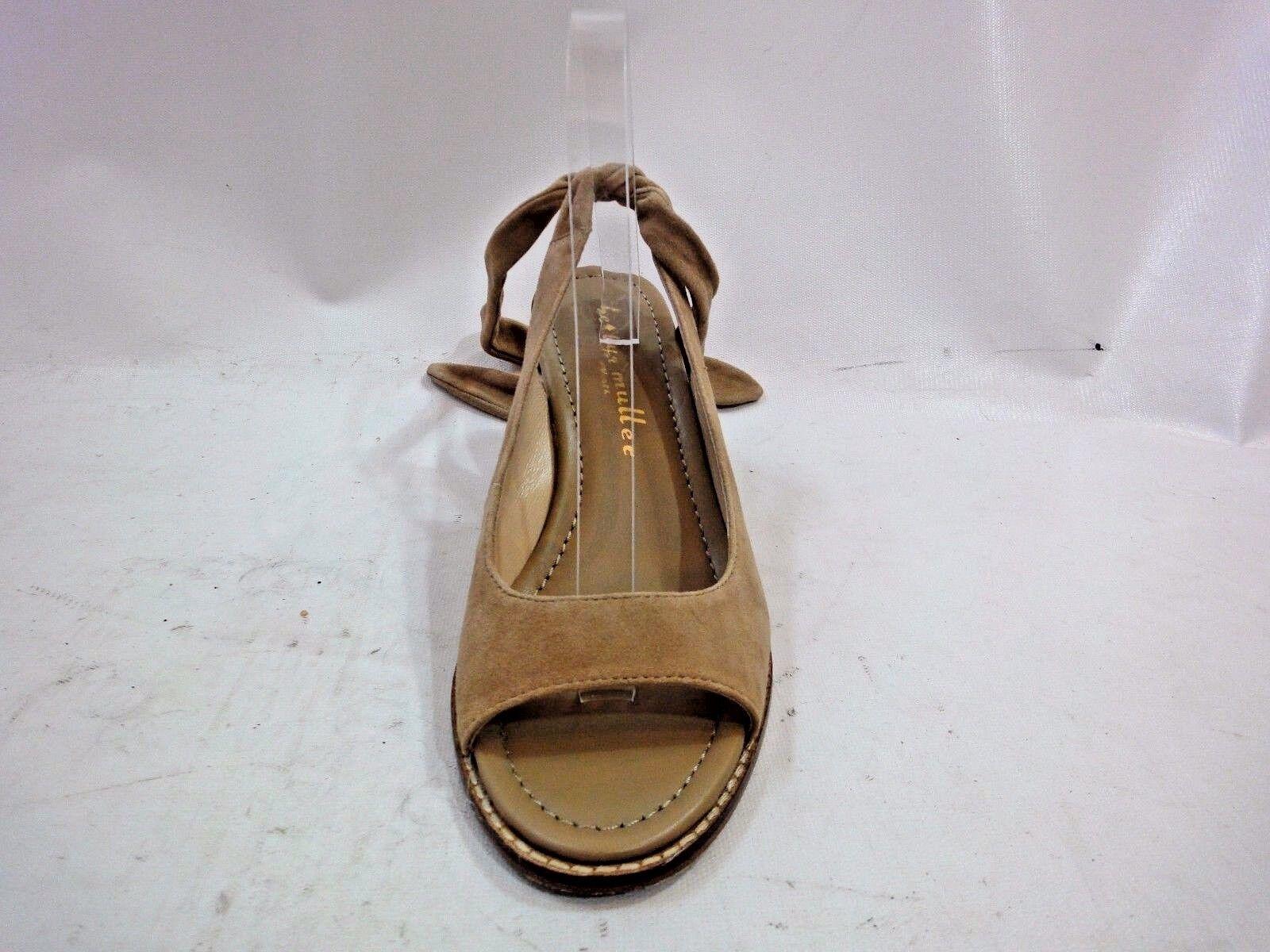 Bettye Muller Beige Suede Open Toe Sandale Wedge Größe 9.5