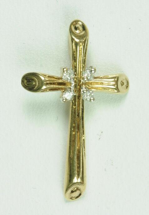 Ladies 10K Y gold Christian Cross Religious Diamond Estate Pendant G271005
