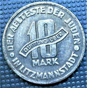 WW2-NAZI-GERMANY-ERA-JUDE-JEWISH-10-MARK-EXONUMIA-COIN-GETTO-1943-LITZMANNSTA