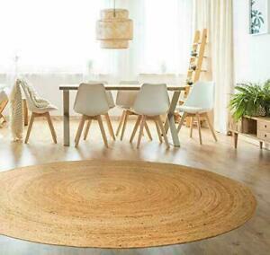 100% Jute Circle Large Scandi style Braided natural reversible rustic round rugs