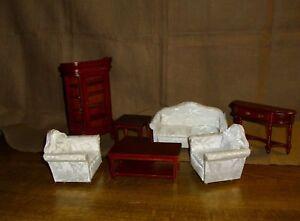 Set Wohnzimmermöbel In Braun 7 Teilig Miniatur 112 Puppenhaus Ebay