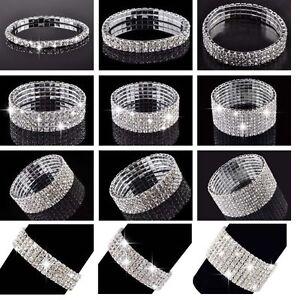 Elegant-Damen-Silber-Bling-Strass-Dehnung-Kristall-Armband-Armreif-Cuff-Schmuck