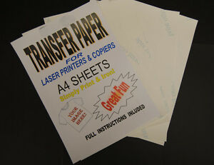 100x A4 Laser /& Copier T Shirt Thermal Transfer Paper Sheets For Light Fabrics