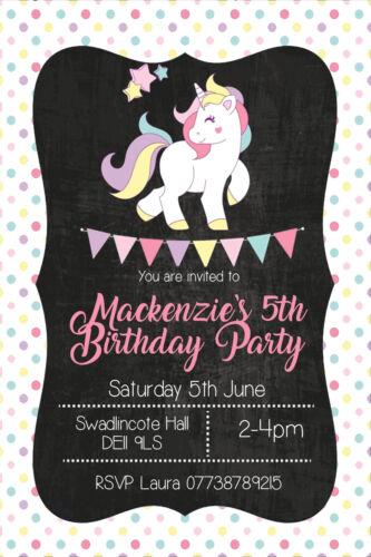 Personalised Cute Unicorn Bunting Birthday Party Invites inc envelopes UNI9