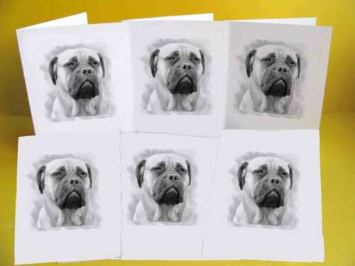Blank Cards with envelopes pack of 6 Bullmastiff Dog Notelets A6 Small