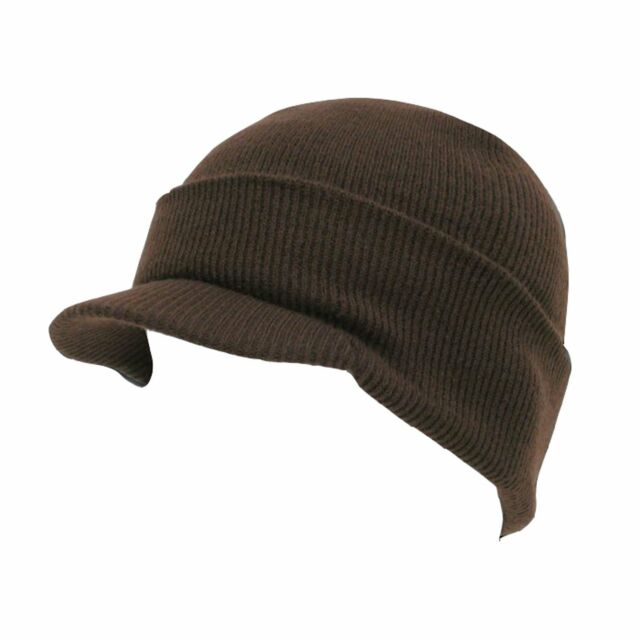 291df81ee18 Brown Visor Beanie Knit Jeep Cap Skull Ski Caps Winter Hat Hats for ...