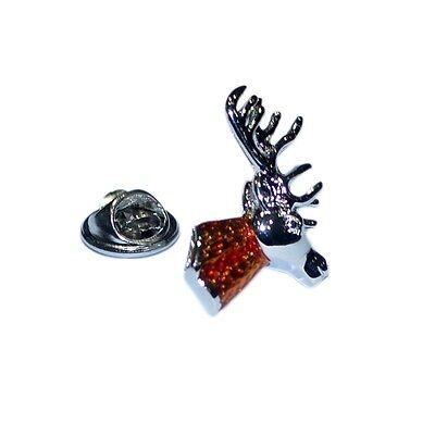 Detailed Stag Head with Full Antlers Metal Pin Badge deer stag antler AJTP406