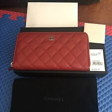 Chanel Zip Around Wallet Red Caviar Brand New With Tag