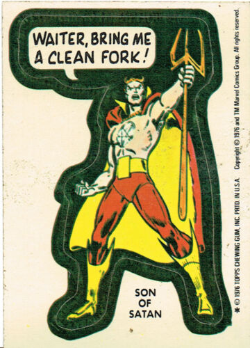 MARVEL SUPER HEROES 1976 STICKER CARD SON OF SATAN