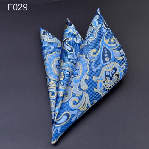 US029 Men Blue Yellow Paisley Flower Silk Tie Pocket Square Handkerchief Set Lot