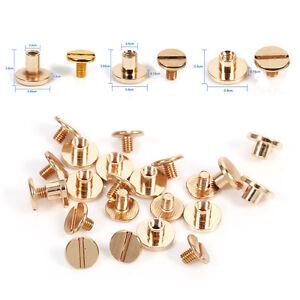 10-Set-Solid-Brass-Button-Stud-Screw-Nail-Screwback-Leather-Rivet-Belt-DIY-Craft