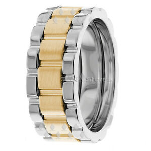 MENS WEDDING BANDS TWO TONE 14K GOLD WATCH INSPIRED 8MM MENS WEDDING