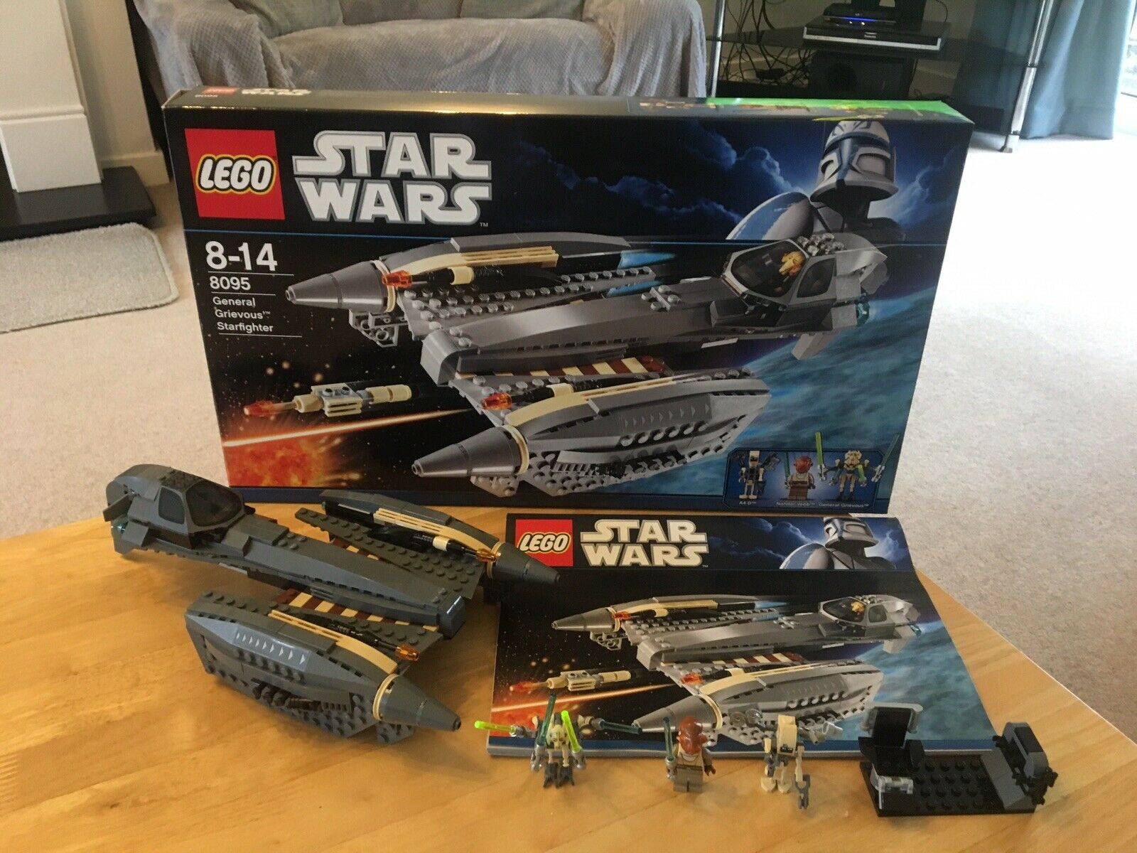 Star Wars Lego 8095  General Grievous Starfighter 100% Complete & Boxed